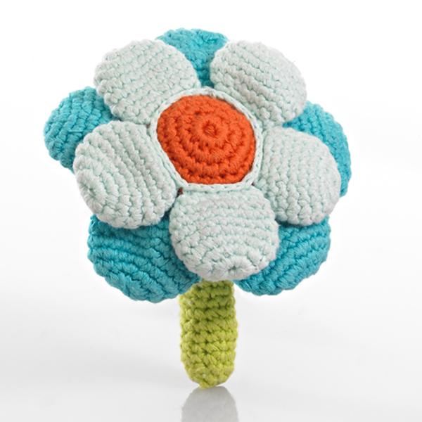 Pebble Flower Rattle - Double Turquoise