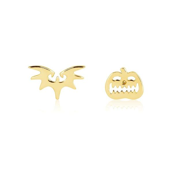 Couture Kingdom: NBC Bat & Pumpkin Mix-Match Stud Earrings - Gold