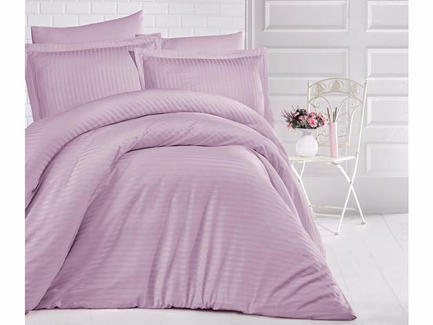 King Size Stripe Satin Duvet Cover Set - Lilac