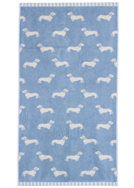 Emily Bond Hand Towel - Blue Dachshunds