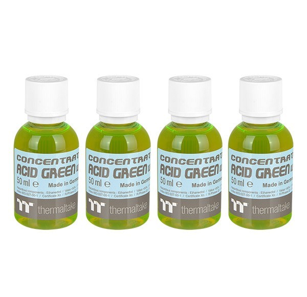 Thermaltake: Premium Contentrate Coolant - Acid Green (UV) (50ml) 4 Pack