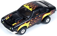 Auto World ThunderJet Ultra-G R8 '74 Chevy Vega Pro Stock Slot Car - Black with Flames