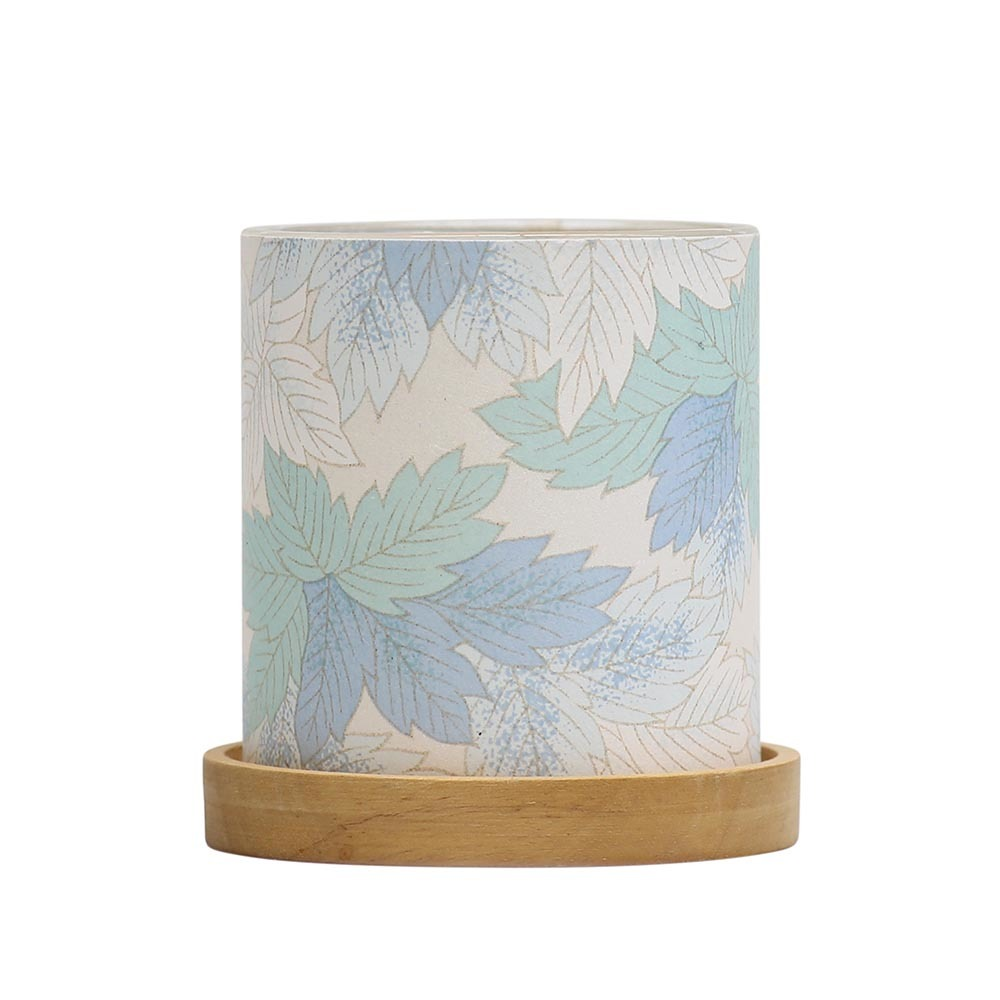 Mini Glass Lantern Maple Leaves (Blue) image