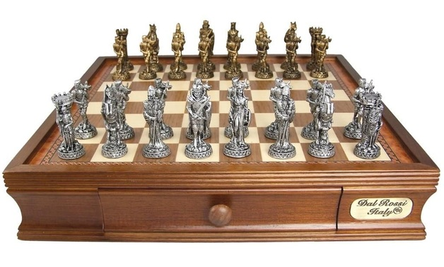 "Dal Rossi: Medieval - 16"" Pewter Chess Set"