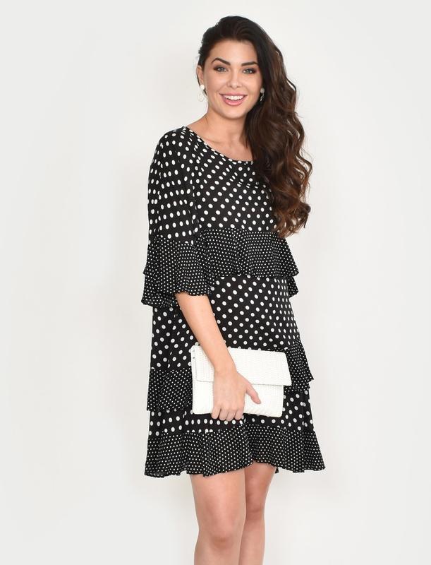 Adorne: Lozzy Frill Dress Mono - S/M