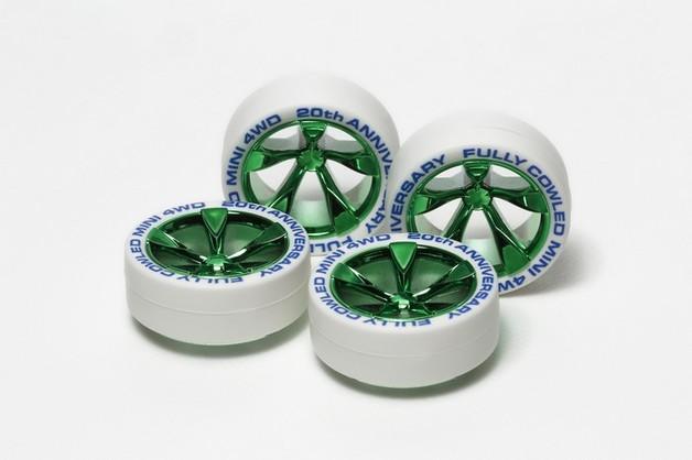 Tamiya Mini 4WD JR Low Profile Tires White - w/Green Plated Wheels