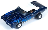 Auto World ThunderJet Ultra-G R8 '69 Pontiac GTO Convertible Slot Car - Black with Flames