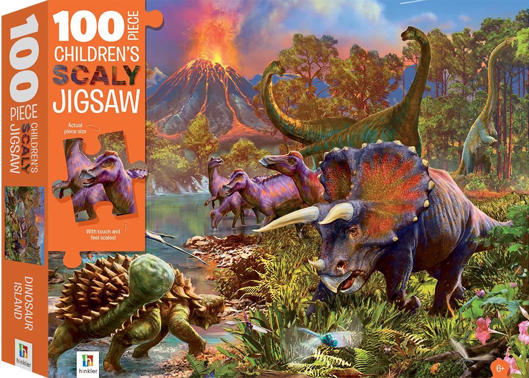 Hinkler: 100-Piece Scaly Jigsaw Puzzle - Dinosaurs image