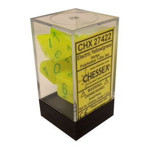 Chessex Signature Polyhedral Dice Set Electric Green/Yellow Vortex