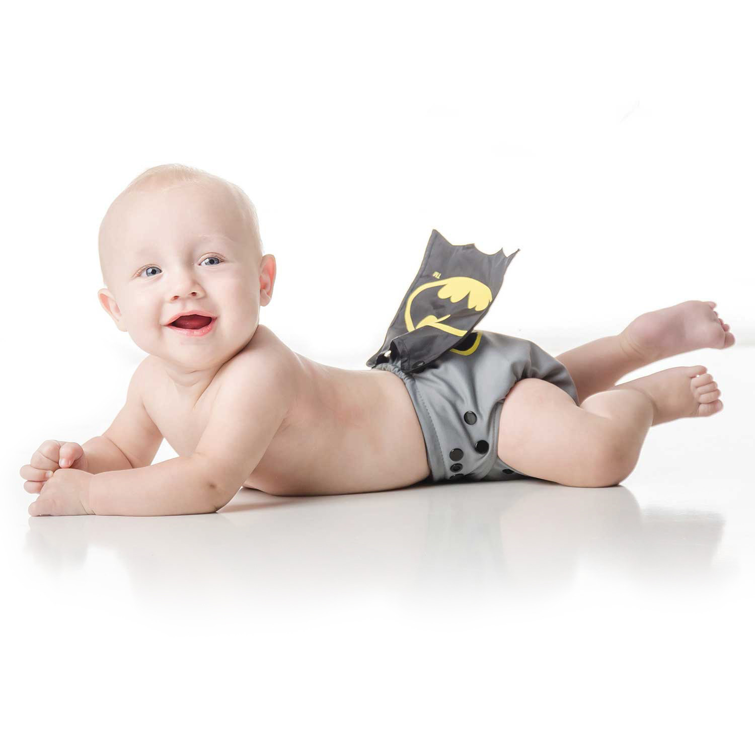 Bumkins DC Comics Snap in One Nappy with Cape - Grey Batman image