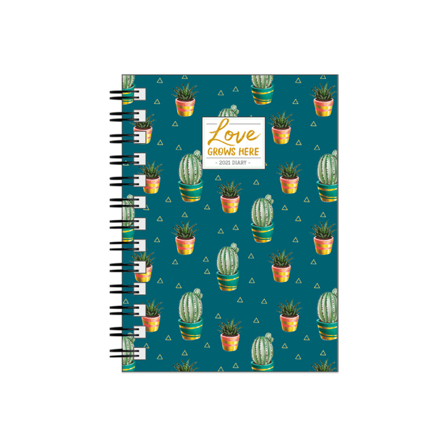 Legami: Small Weekly 12 Month 2021 Diary Spiral Bound - Cactus (8.5 x 13cm)