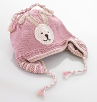Pebble Bunny Motif Beanie with Earflaps - Pink (6-12 Months)