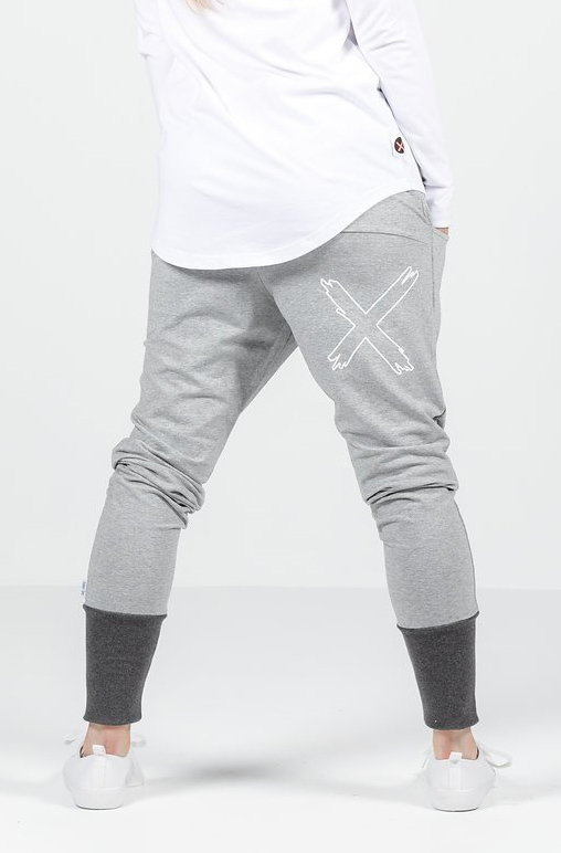Home-Lee: Apartment Pants - Grey With Charcoal Cuff - 14