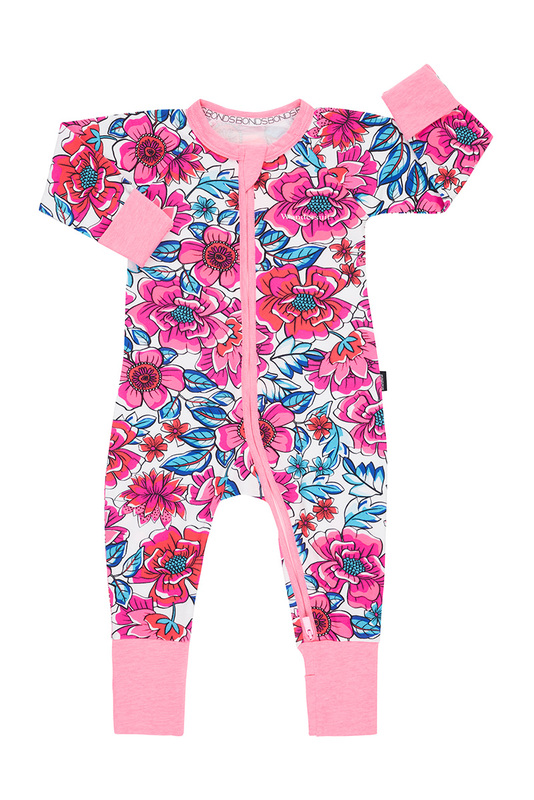 Bonds Zip Wondersuit Long Sleeve - Freestyle Blooms (12-18 Months)