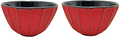 Teaology: Ribbed Red/Black Cast Iron Tea Cups - Set of 2 (120ml)
