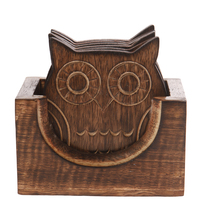Wooden Owl Coaster Set- 6 Pieces