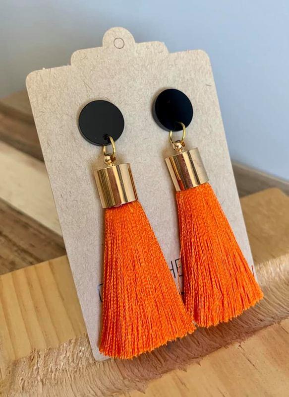 Over the Ditch: Tassle Earrings - Orange/Black