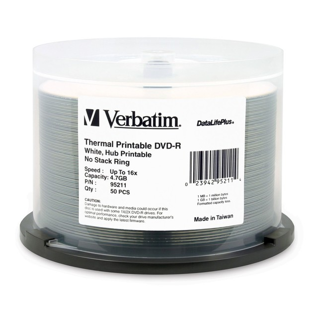 Verbatim DVD-R 4.7GB White Wide Thermal 16x (50 Pack)