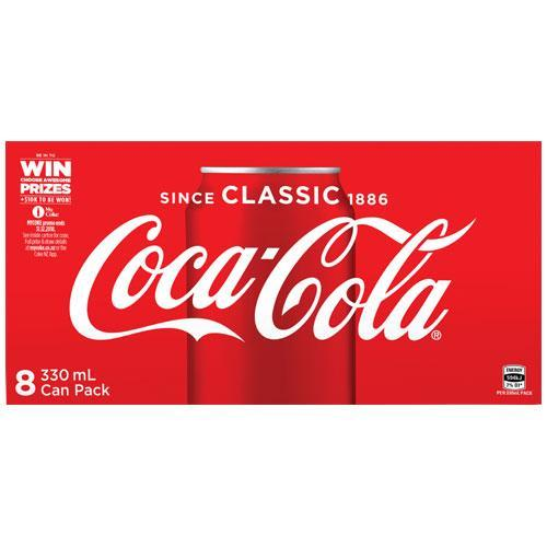 Coca-Cola Soft Drink Cans - 8 Pack (330ml)