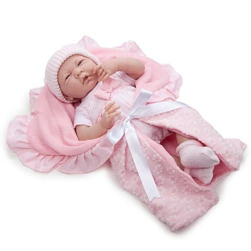 La Newborn - Soft Body Baby Doll with Pink Bunting (39cm) image