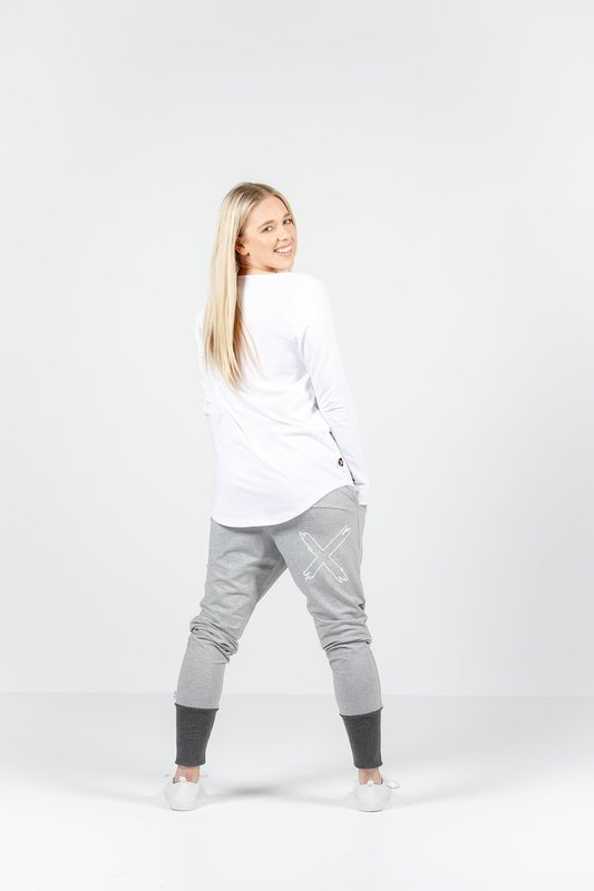 Home-Lee: Apartment Pants - Grey With Charcoal Cuff - 8