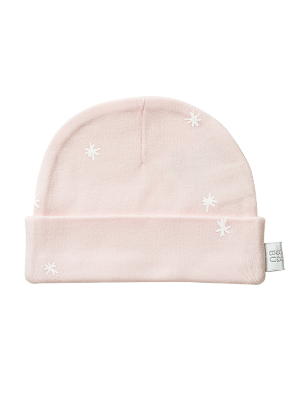 Babu: Organic Cotton Hat - Shell Pink Star (0 - 3 Months)