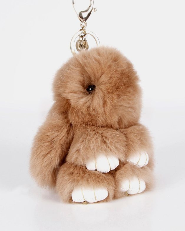 Belle and Bloom: Faux Fur Bunny Keychain - Brown