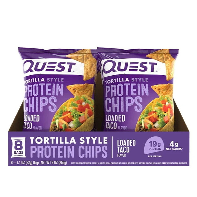 Quest Protein Tortilla Chips - Loaded Taco (8 Bags)