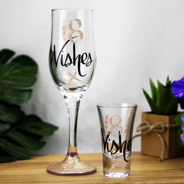 Wishes: 18 Wishes Rose Gold Shot Glass