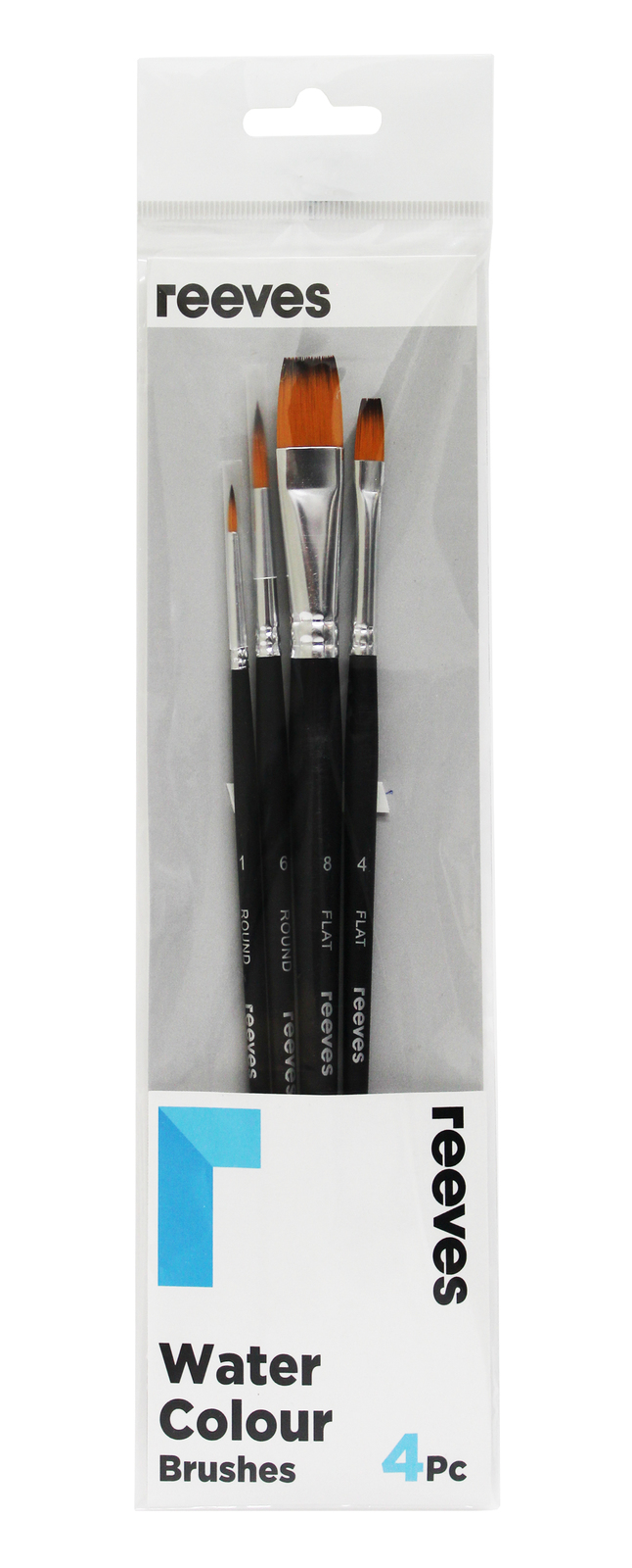 Reeves: Watercolour Brush Golden Synthetic Short Handle - Pack 4 image