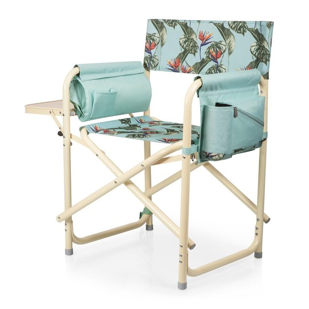 Picnic Time: Outdoor Directors Chair - Tropical Foliage Pattern with Beige Accents