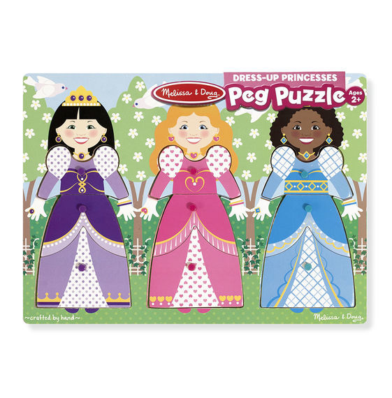 Melissa & Doug: Dress-Up Princesses Peg Puzzle - 9 Pieces