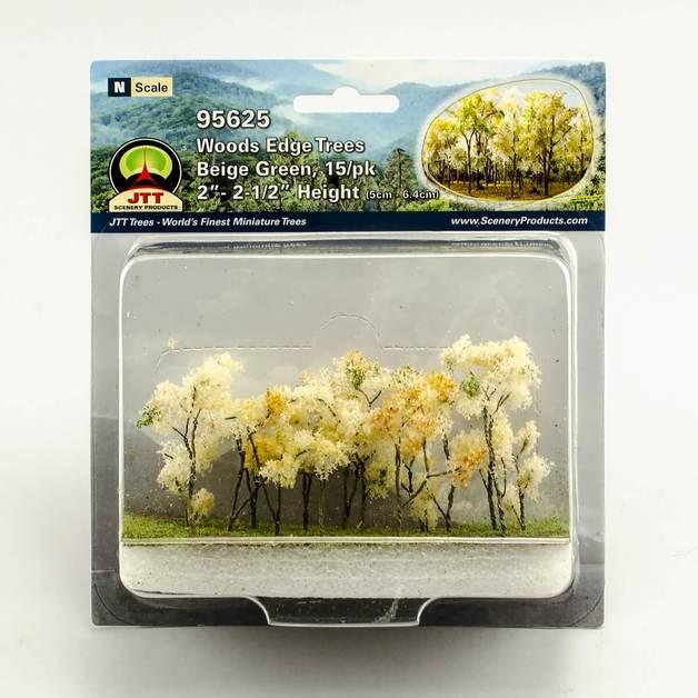 JTT: N gauge Wood Edge Trees Beige Green (15 Pack)