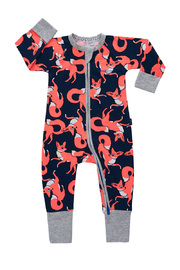 Bonds Zip Wondersuit Long Sleeve - Almost Midnight Fox Trot (6-12 Months)