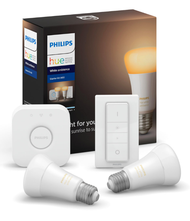 Philips: Hue LED Blub - White Ambience - 2-Piece Dimmer Starter Set (8.5W/A60/E27)