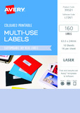 Avery L7261 Multi-Use Labels - Sky Blue (10 Sheets/160 Labels)