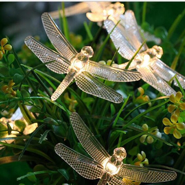 Solar String Lights - 20 LED Dragonfly Fairy Lights