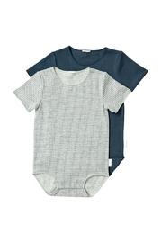 Bonds Wonderbodies Short Sleeve Bodysuit 2 Pack - New Grey Marle Spot/Harpoon (0-3 Months)