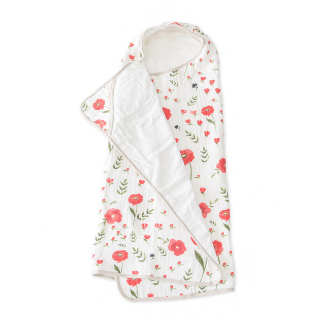 Little Unicorn: Big Kid Hooded Towel - Summer Poppy