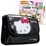 Hello Kitty Happy Happy Family & Bag Black Bundle for Nintendo 3DS