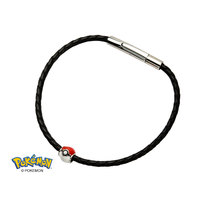 Pokemon Silver Poke Ball with Black Leather Bracelet