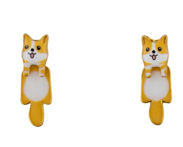 Short Story: Dog Drop Earrings - Corgi