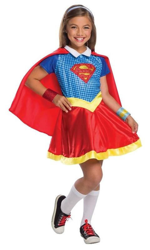 DC Super Hero Girls: Supergirl Girls' Deluxe Costume - (Size 6-8)