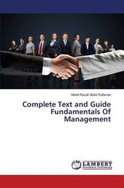 Complete Text and Guide Fundamentals of Management by Abdul Rahman Mohd Razali
