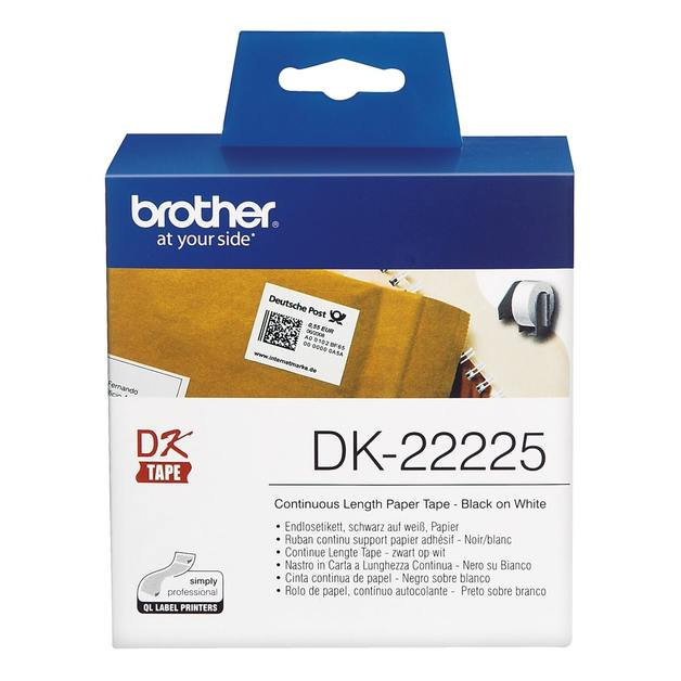 Brother DK-22225 Continuous Paper Label Roll - Black on White (38mm x 30.48m)