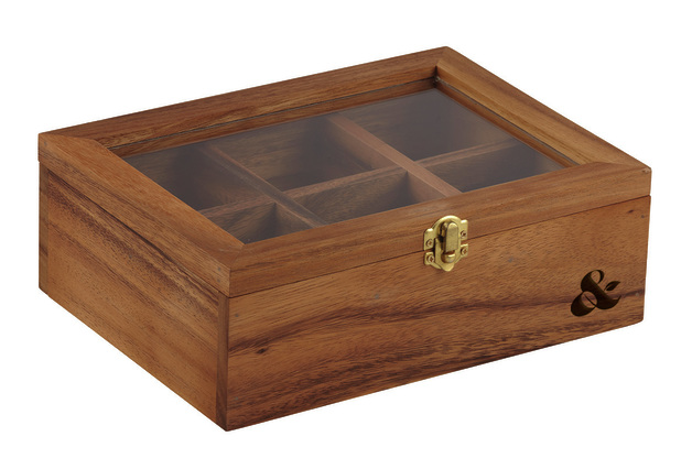 Leaf & Bean: Acacia Wood Tea Box (25x18.5x9cm)