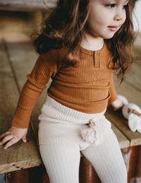 Karibou Kids: Willow Long Sleeve Cotton Top - Antique Gold 2YRS