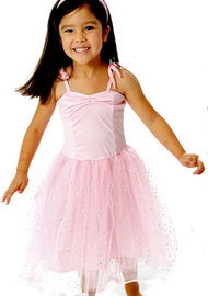 Fairy Girls - Sparkle Ballet Dress in Light Pink (Medium, age 4-6)