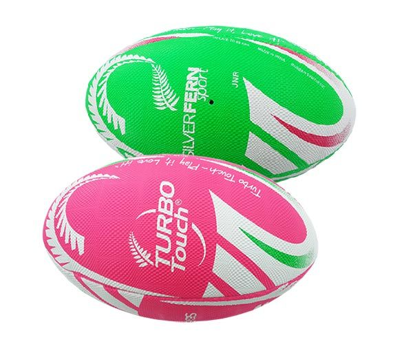 Silver Fern Turbo Touch Rugby Ball - Green (Size 2.5)