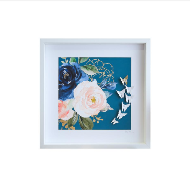 Large White Frame Floral (Blue)